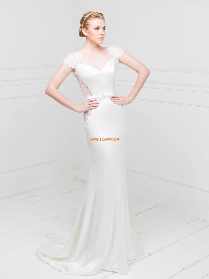 Original Sirène Robe de mariée satin stretch dentelle col en coeur avec ceinture traîne moyenne