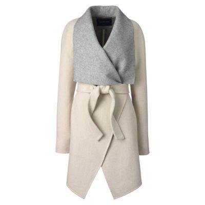 Lands' End White waterfall wool blend coat   Debenhams