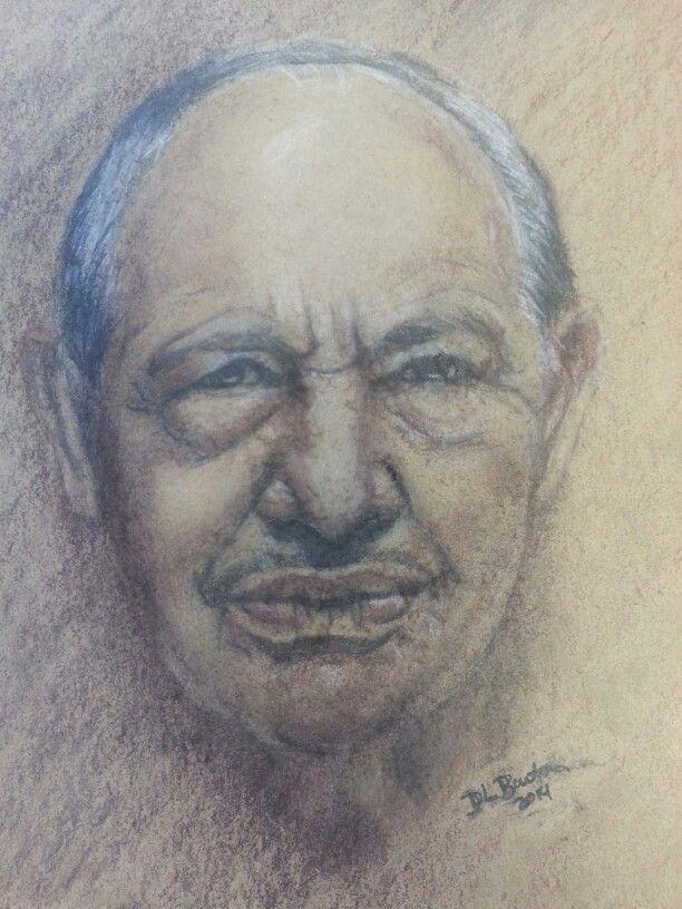 Colin Dexter portrait with charcoal pencils on brown rough sketch paper. DL Burton Art