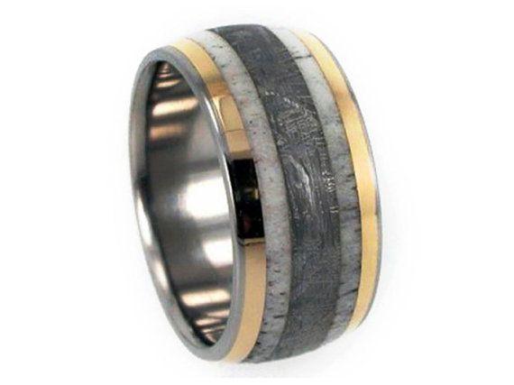 Hirschgeweih Ring Gibeon-Meteoriten-Ring 18k von jewelrybyjohan