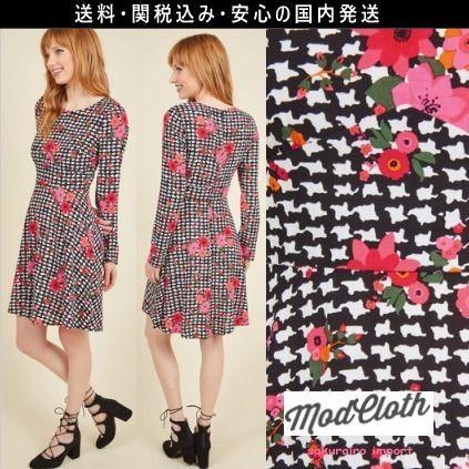 ★人気★モドクロス modcloth 花柄 千鳥格子 ワンピース ドレス 2016 レトロ ファッション テイラースイフト