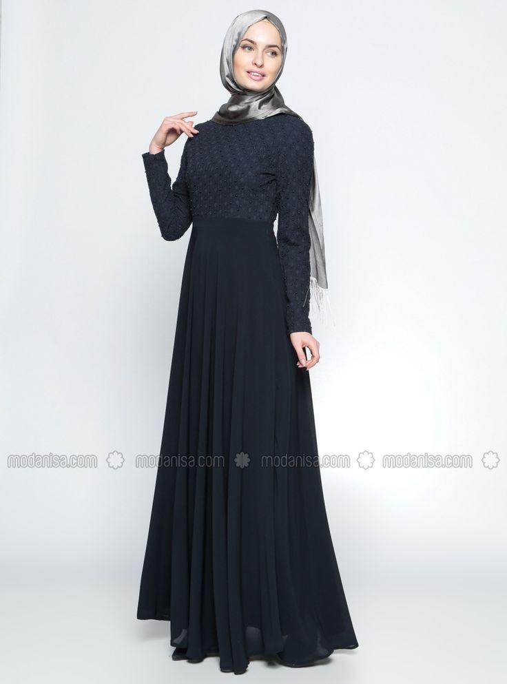 Navy Blue - Polo neck - Fully Lined - Muslim Evening Dress - TUĞBA
