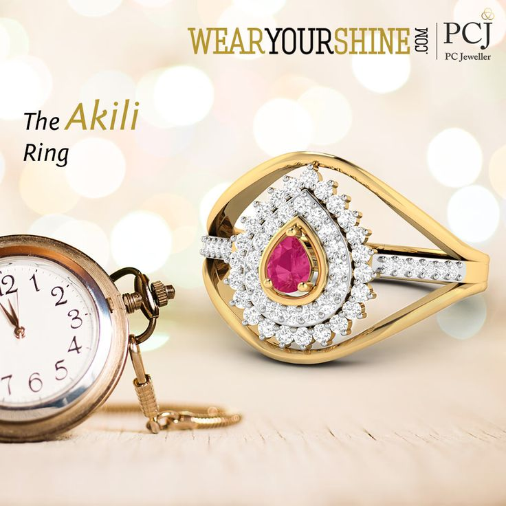 """Feel complete with the ever-so-beautiful """"Akili Ring"""" by WearYourShine   #WearYourShine #PCJeweller #Love #Rings #Diamonds #Happiness #Fashion #Gemstone"""