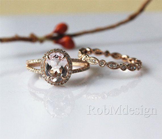 14K Rose Gold 2PCS Morganite Enagement Ring Set 79mm by RobMdesign