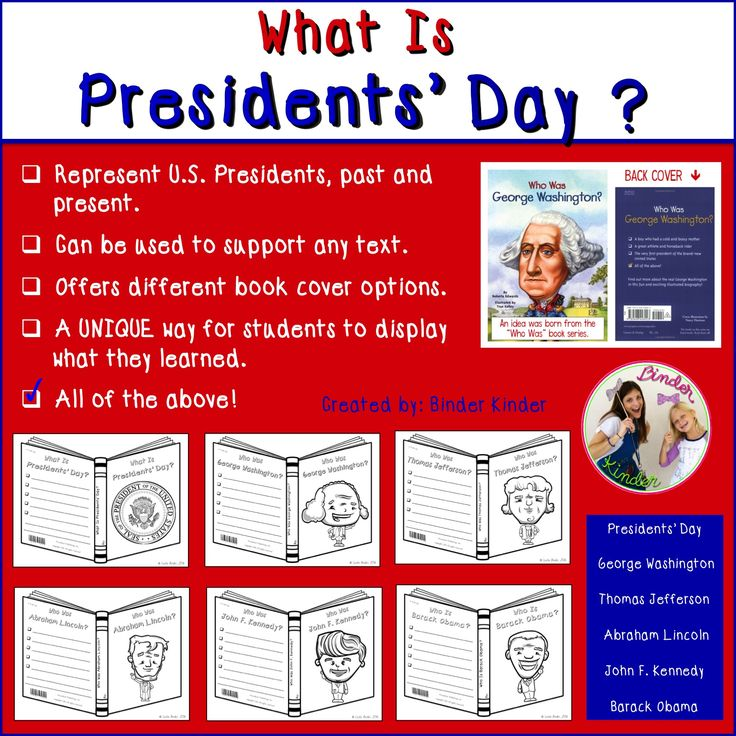 -Represent U.S. Presidents, past and present. -Can be used to support any text. -Offers different book cover options. -A UNIQUE way for students to display what they learned. Included... -George Washington -Thomas Jefferson -Abraham Lincoln -John F. Kennedy   -Barack Obama   * What is Presidents' Day book cover included as well. (scheduled via http://www.tailwindapp.com?utm_source=pinterest&utm_medium=twpin&utm_content=post28075636&utm_campaign=scheduler_attribution)