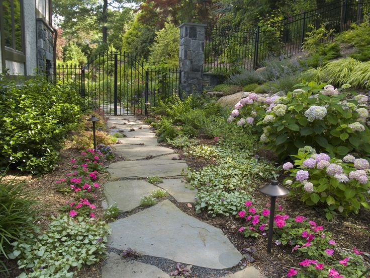 pink and purple path garden design - Garden Design Jersey