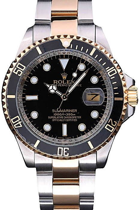 Mens Replica Rolex Submariner Black Dial Gold Bezel With Black Top Watch With Two Toned Stainless Steel Bracelet