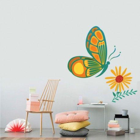 Αυτοκόλλητο τοίχου με πεταλούδες και λουλούδι