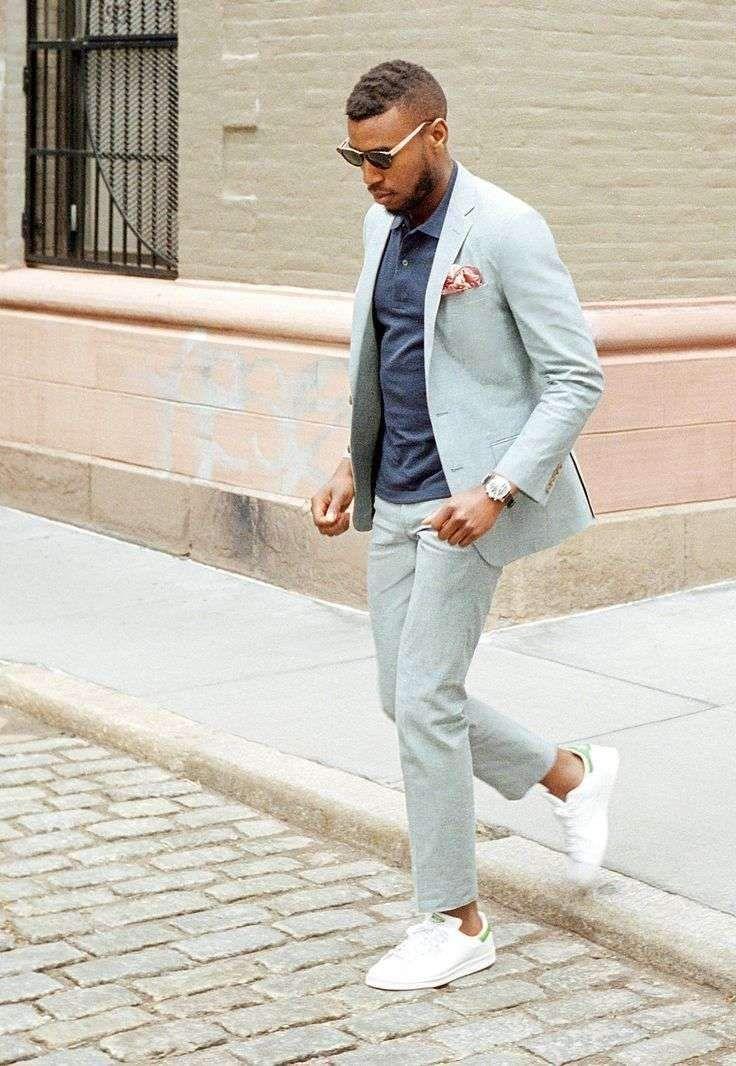 2018 Latest Coat Pant Designs Light Grey Casual Men Suits Summer