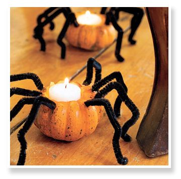 Cute!Halloween Decorations, Halloween Parties, Spiders, Pipe Cleaners, Candles Holders, Teas Lights, Halloween Pumpkin, Halloween Decor Ideas, Halloween Ideas