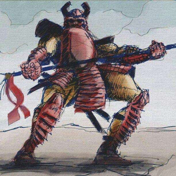 """Samurai"" 15 min pen sketch textured & colored in Photoshop."