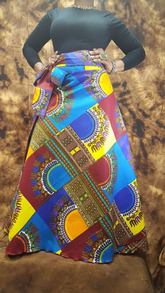 SHOP  African Wax Print HIGH Waist Wrap Skirts fits up to size