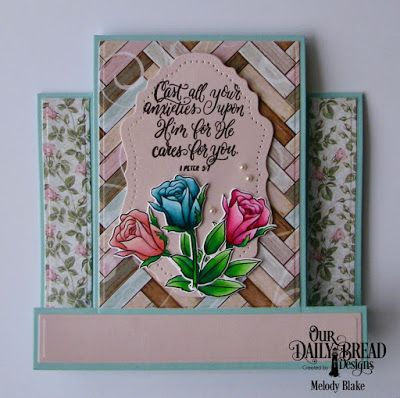 Our Daily Bread Designs Stamp/Die Duos: His Love Endures, Custom Dies:  Center Step Card, Center Step Card Layers, Vintage Flourish Pattern, Paper Collection: Romantic Roses