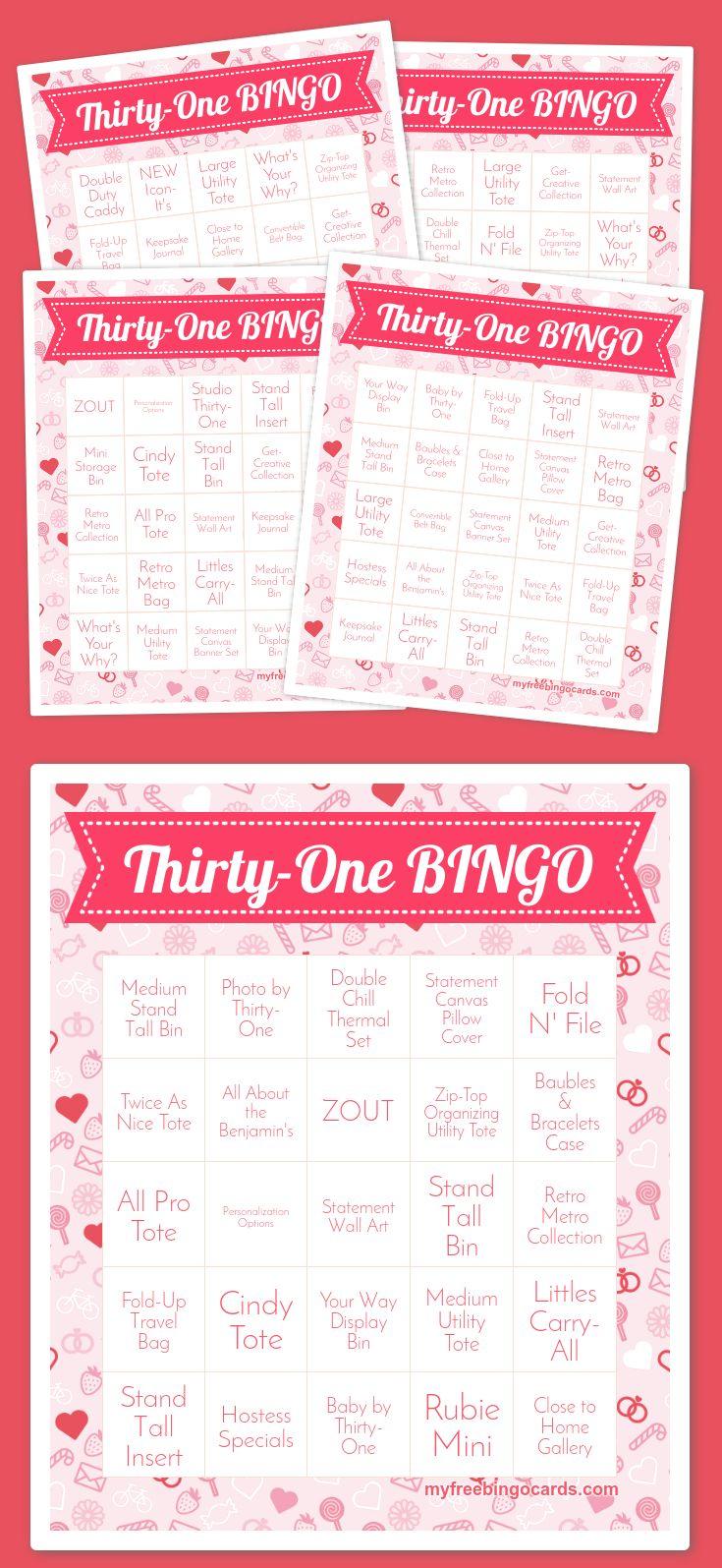 ThirtyOne BINGO Bingo card generator, Bingo printable