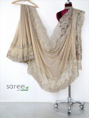 Beige Shimmer Georgette Saree with Stone and Cutdana Work