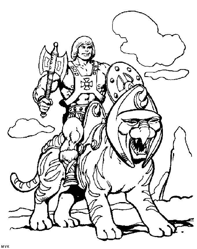HeMan and Battle Cat coloring page HeMan and the