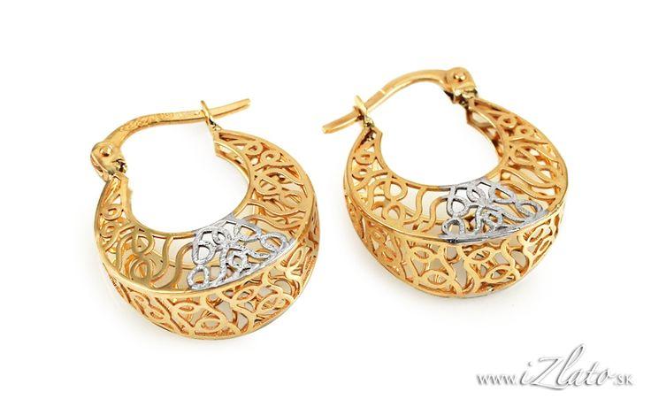 Zlaté náušnice krúžky s ozdobným výpletom