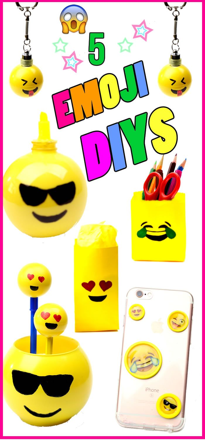 5 DIY Emoji Projects!Learn how to make an Emoji phone case, Emoji keychains, highlighter marker, miniature pencils or pens and Emoji room decor or Emoji gift bags.Find out how to make some cool and unique DIY crafts inspired by Emoji's.  These are all easy DIY projects to do when you are bored!I hope you have fun with these fun, easy, creative and unique #DIYs!In this DIY video tutorial learn to make some fun DIY Crafts inspired by Emoji- phone case,light up keychains, Emoji gift bags…