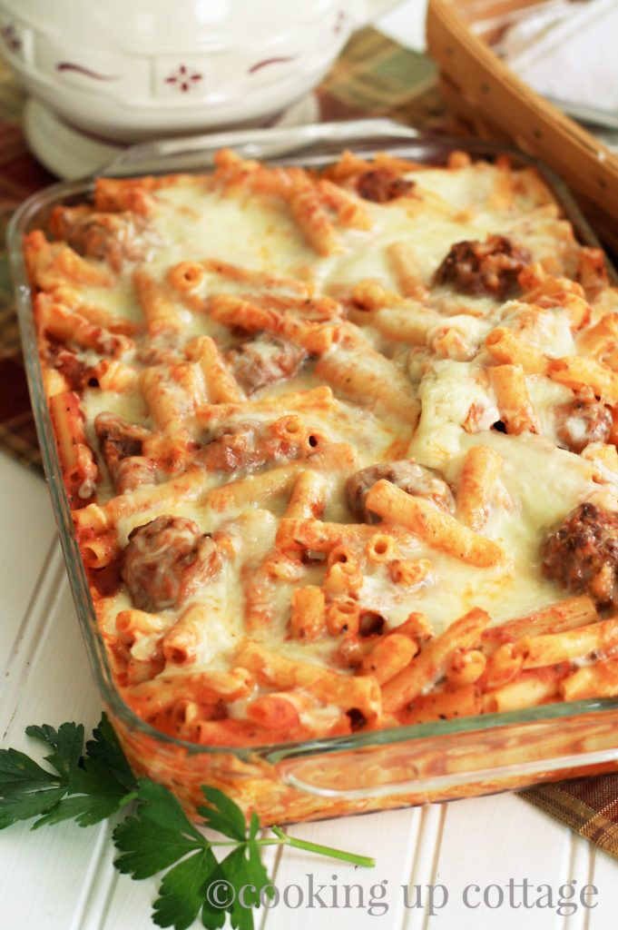 Baked Ziti with Meatballs – Cooking Up Cottage