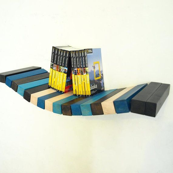 Wood floating wall shelf  black white and blue by MustHaveRo