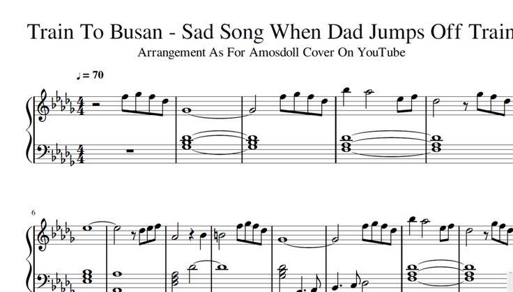 Train To Busan - Sad Song When Dad Jumps Off Train || Piano Sheet Music + Midi Arrangement As For Amosdoll Youtube Piano Cover