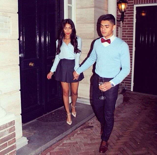 Baby Blue Navy Blue Dinner Party Bow Tie Asian Couple Love Relationship Goal Matching Swag His Her