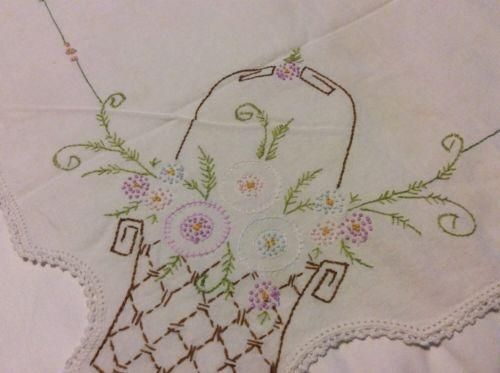 VINTAGE CROCHETED EMBROIDERED FLORAL BASKET PURPLE CREAM TABLECLOTH
