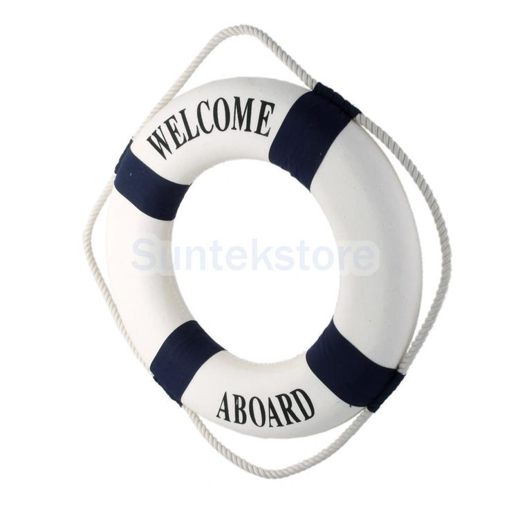 "Blue 13.8"" Welcome Life Buoy Ring Preserver Nautical Boat Marine Theme Decor"