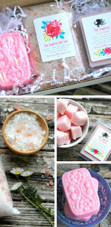 Pink Grapefruit Gift Set Christmas For Mom Spa Box Best Friend Birthday Bridesmaid