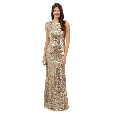 No. 1 Jenny Packham Gold sequin glitter maxi dress | Debenhams