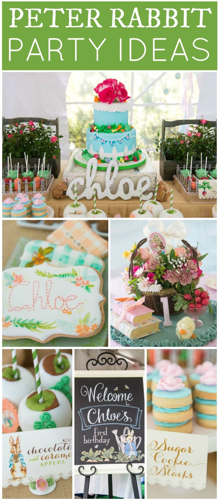 Love this gorgeous 1st birthday party with a girly Peter Rabbit theme! See more party ideas at CatchMyParty.com!