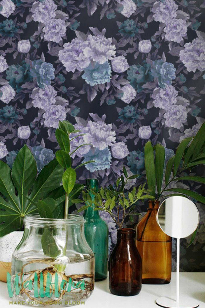 Transform any room in your home into floral paradise with this self-adhesive vinyl DARK PEONY pattern removable wallpaper!
