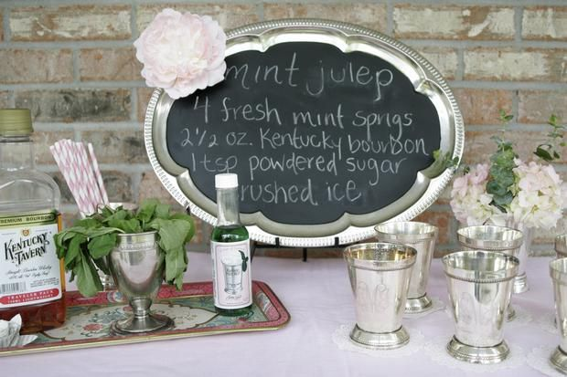 Love the silver tray with chalkboard paint on the center: Birthday, Julep Bar, Silver Trays, Menu Boards, Chalkboards Paintings, Parties Ideas, Mintjulep, Kentucky Derby Parties, Mint Julep