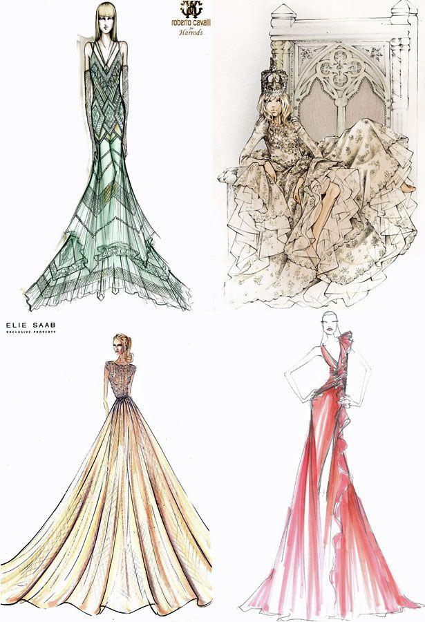 Stylist Gets Ballgown Lust - designs by Roberto Cavalli, Valentino, Elie Saab and Jenny Packham