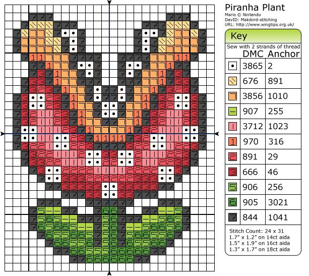 pariah plant from mario cross stitch