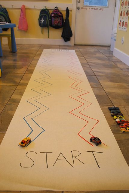 ZIG ZAG Race by brilliantbeginningspreschoolutah: Fun fine motor skills activity. #Kids #DIY #Fine_Motor_Skills