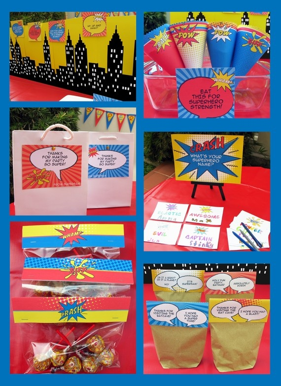 via etsy.com SIMONEmadeit GREAT DEAL $12.95 for Superhero Party Pack 3 of 4
