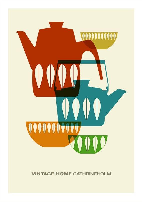 Cathrineholm poster print Mid century modern vintage por yumalum