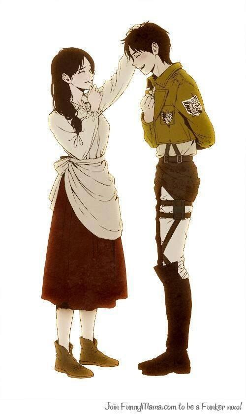 "you know, I think this picture is extremely cute, but then I remember that well, his mom is dead, so then I start crying. like I want it to say like ""oh welcome home, son, im glad you're safe,"" and eren be like ""yeah, its been a long time, mom."" BUT nope shes gone......"