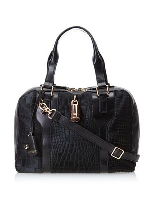 Olivia Harris Women's Kraven Novelty Satchel, Hair Calf Black