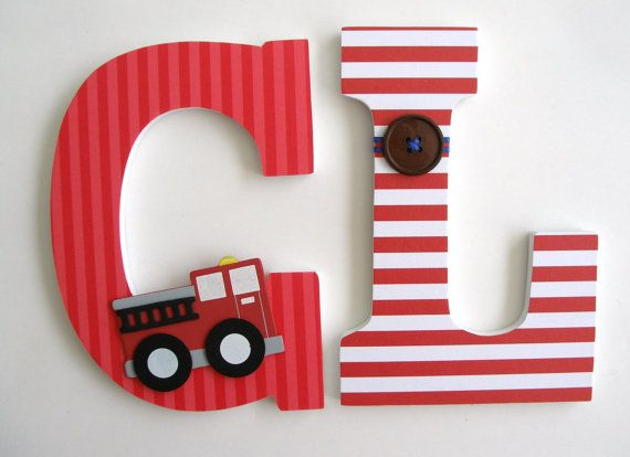 Custom Decorated Wooden Letters FIRE ENGINE Theme- Nursery Bedroom Home Décor, Wall Decorations, Wood Letters, Personalized. $25.00, via Etsy.