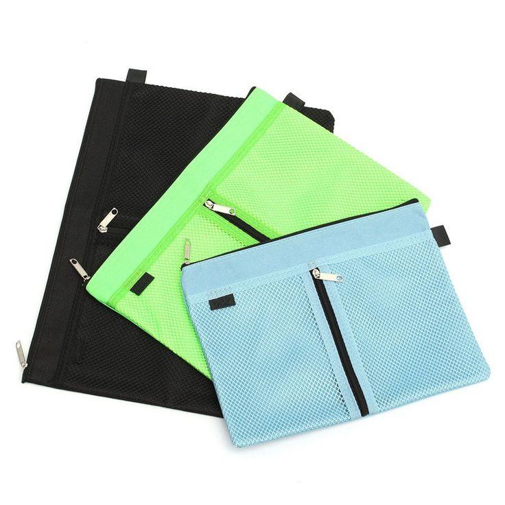 Kicute A4 A5 B5 Canvas File Folder Zipper Waterproof Bag Paper File Bags Document Folders Cute Office School Stationery Supplies