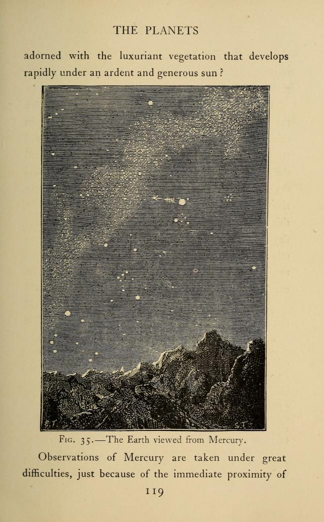 The Earth viewed from Mercury. 1904 Astronomy for amateurs, Flammarion, Camille