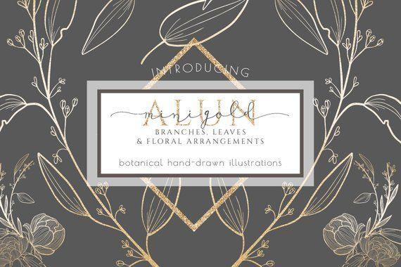 Floral clipart, commercial use, floral branch greenery clip art, gold foil invitation png , branding logo card, laurels outline, hand drawn