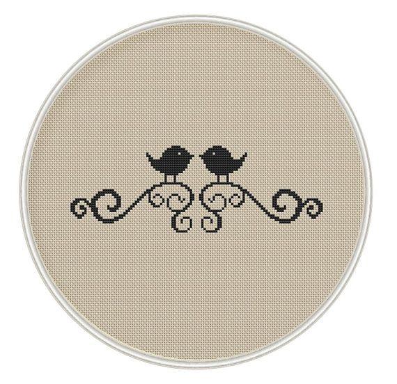 Bird Cross stitch pattern, cross stitch bird, cross stitch PDF, silhouette cross stitch, MCS052