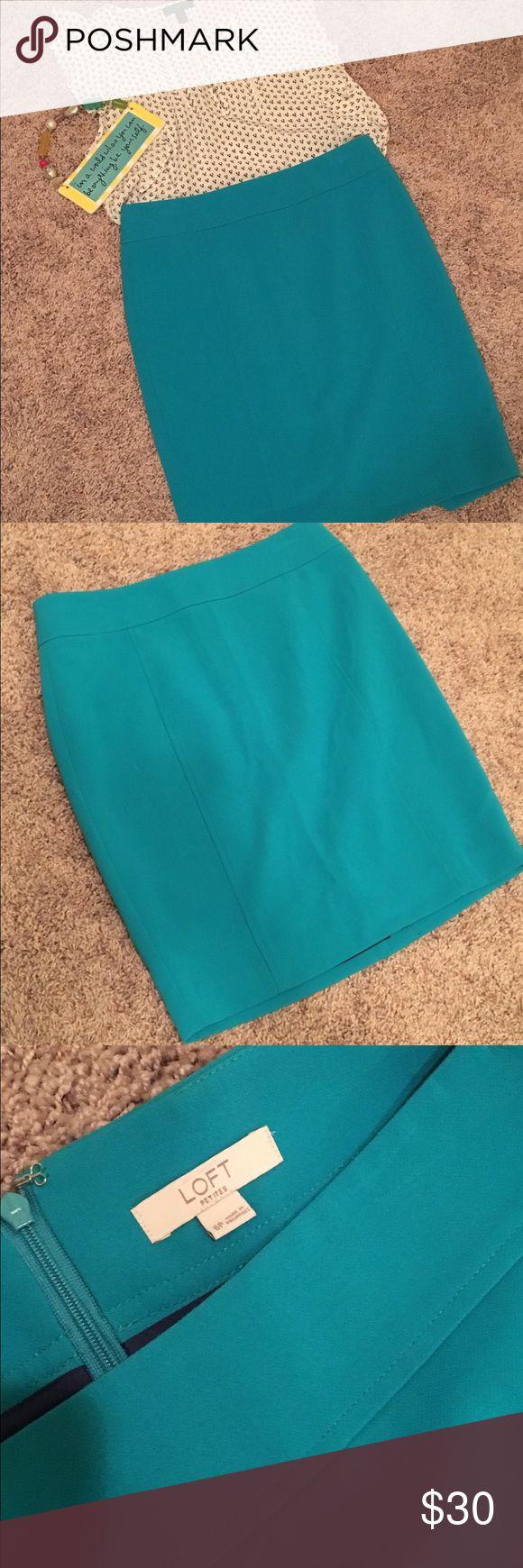 LOFT petite turquoise pencil skirt LOFT petite pencil skirt. Great condition! Worn less than 5 times. LOFT Skirts Pencil
