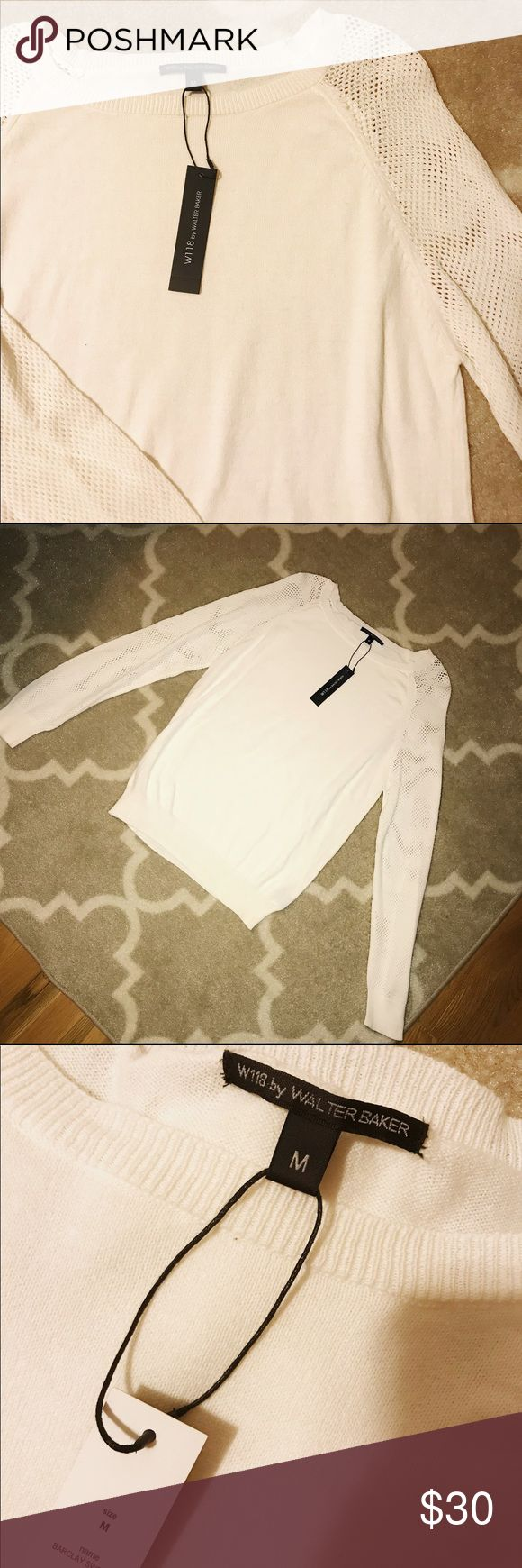 Walter Baker Cream/White Sweater Walter Baker cream colored sweater with mesh like sleeves and a thin soft material ❤️ Walter Baker Sweaters Crew & Scoop Necks