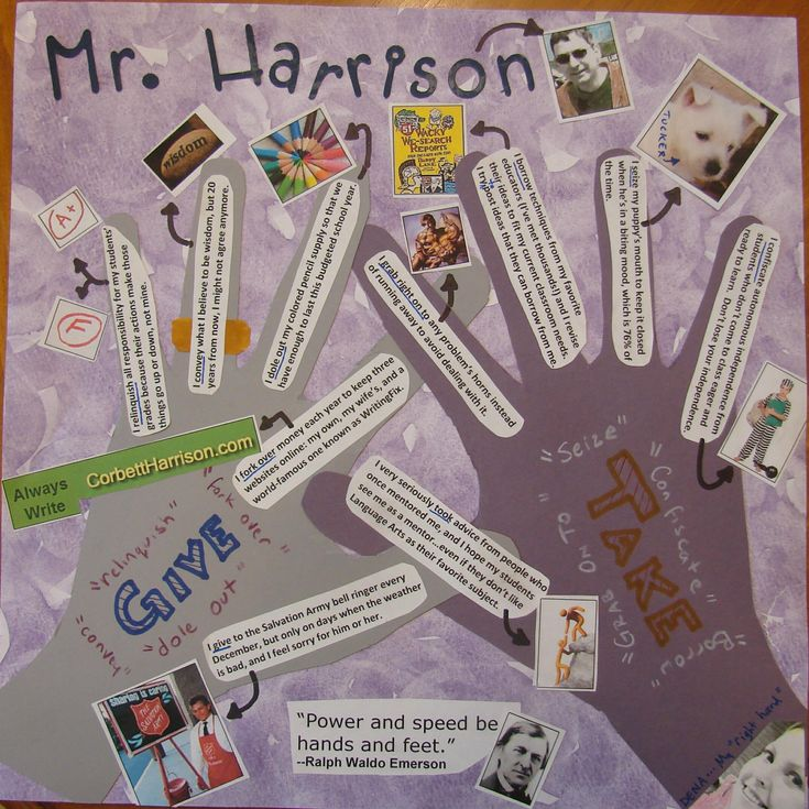 """""""Presenting Me"""" back-to-school assignment, option 2: Celebrating our Giving & Taking HANDS with a mural that we laminate and decorate our hallways with. This lesson is the """"center-square"""" lesson of our Writer's Notebook Bingo Cards (http://corbettharrison.com/documents/Writers_Notebook_Bingo_Aug_Sept.pdf), and it can accessed when you purchase the entire set of 10 cards.  Project link: http://corbettharrison.com/free_lessons/Presenting-Me-Limited-Version.htm"""