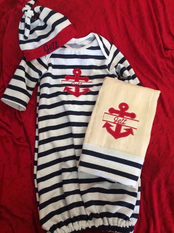 Anchor theme baby boy or girl gown set/ baby gown/ by NeesyGee, $38.00