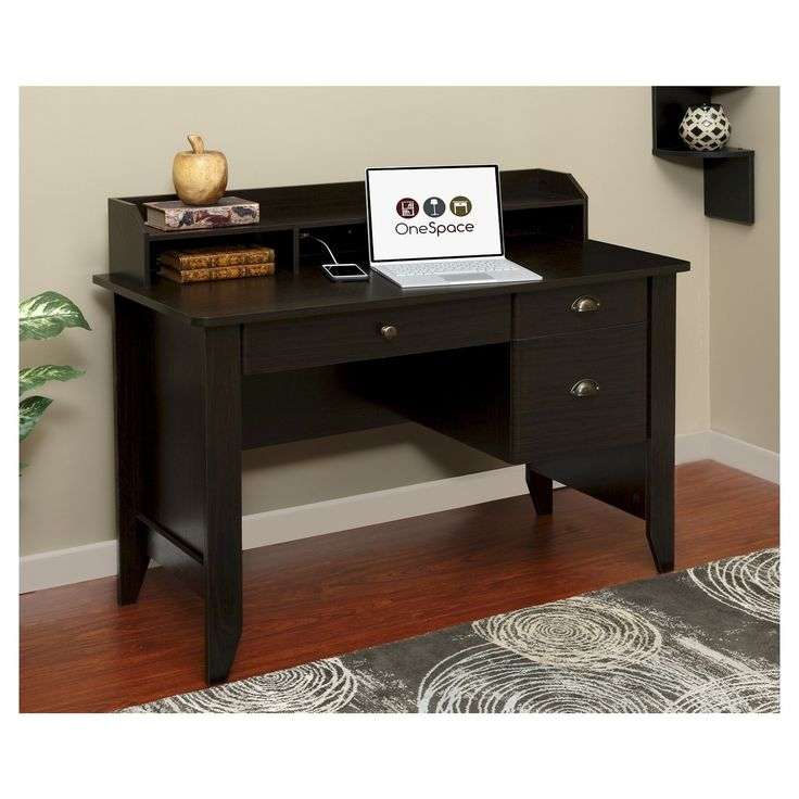 comfort products onespace executive desk with hutch and usb charger hub